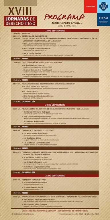 Programa Jornadas de Derecho ITESO