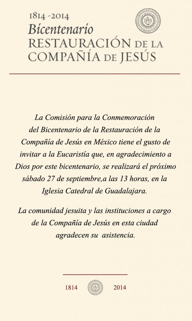 Invitación electrónica Eucaristía Bicentenario